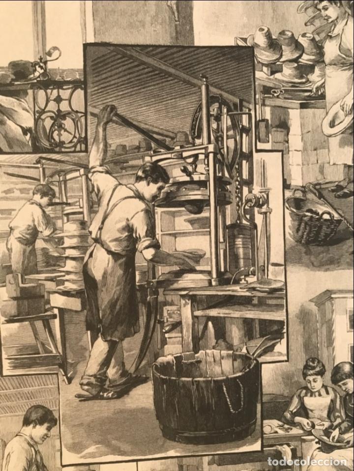 Arte: Proceso en la fabricación artesanal de sombreros, 1890. Hans Kemfmum - Foto 7 - 260811495