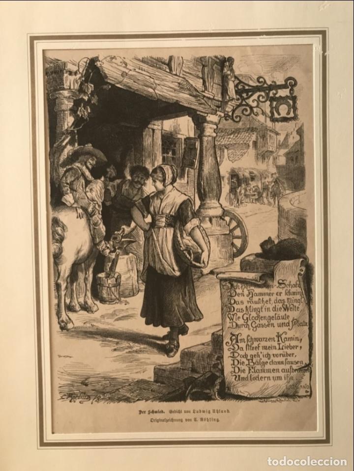 HERRERO, JINETE Y DONCELLA, 1880 (Arte - Grabados - Modernos siglo XIX)