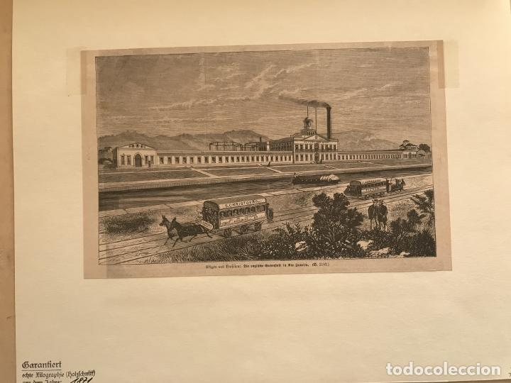 Arte: Fábrica, barco y transporte público de caballos en Río de Janeiro (Brasil), 1871. Anónimo - Foto 3 - 260828510