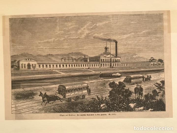 Arte: Fábrica, barco y transporte público de caballos en Río de Janeiro (Brasil), 1871. Anónimo - Foto 4 - 260828510