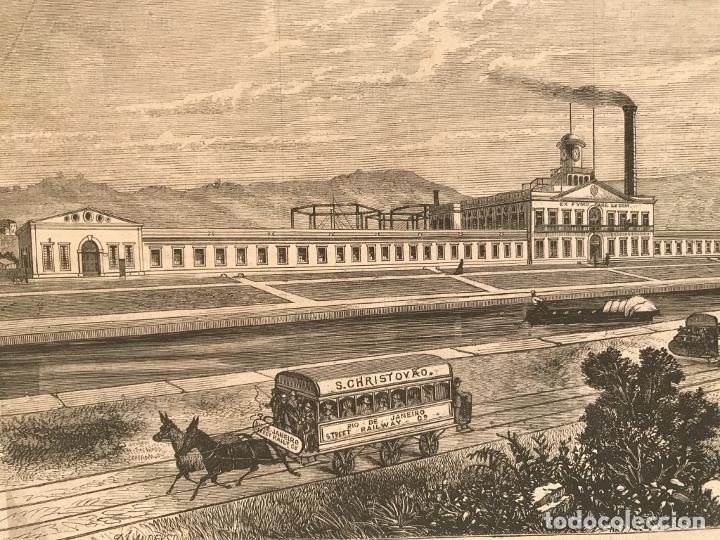 Arte: Fábrica, barco y transporte público de caballos en Río de Janeiro (Brasil), 1871. Anónimo - Foto 5 - 260828510