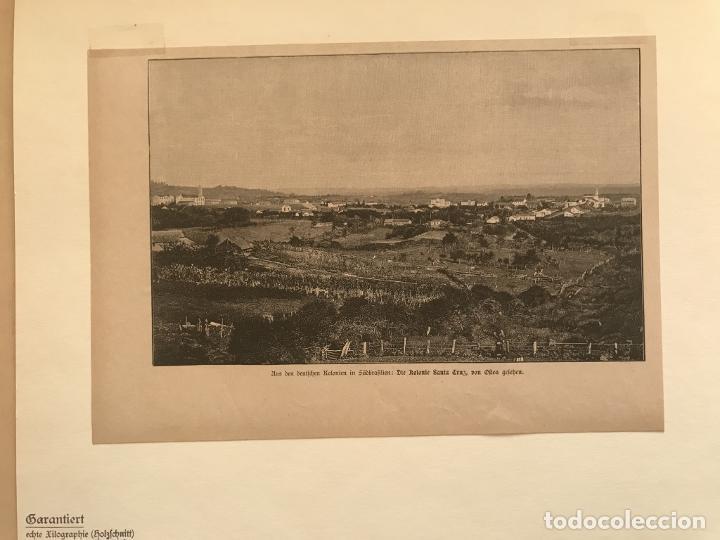 Arte: Vista de Santa Cruz en Rio Grande do Sul (Brasil, América del sur), 1889. Anónimo - Foto 3 - 260833910