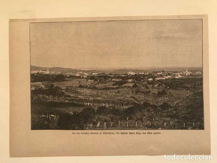 Arte: Vista de Santa Cruz en Rio Grande do Sul (Brasil, América del sur), 1889. Anónimo - Foto 4 - 260833910