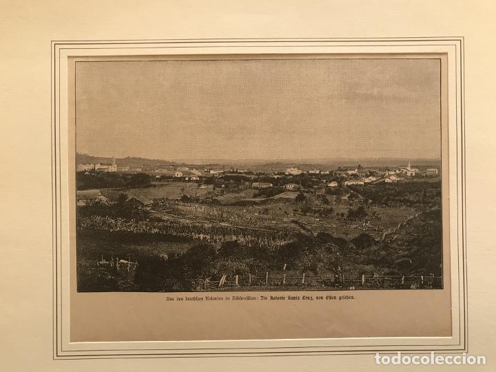 VISTA DE SANTA CRUZ EN RIO GRANDE DO SUL (BRASIL, AMÉRICA DEL SUR), 1889. ANÓNIMO (Arte - Grabados - Modernos siglo XIX)
