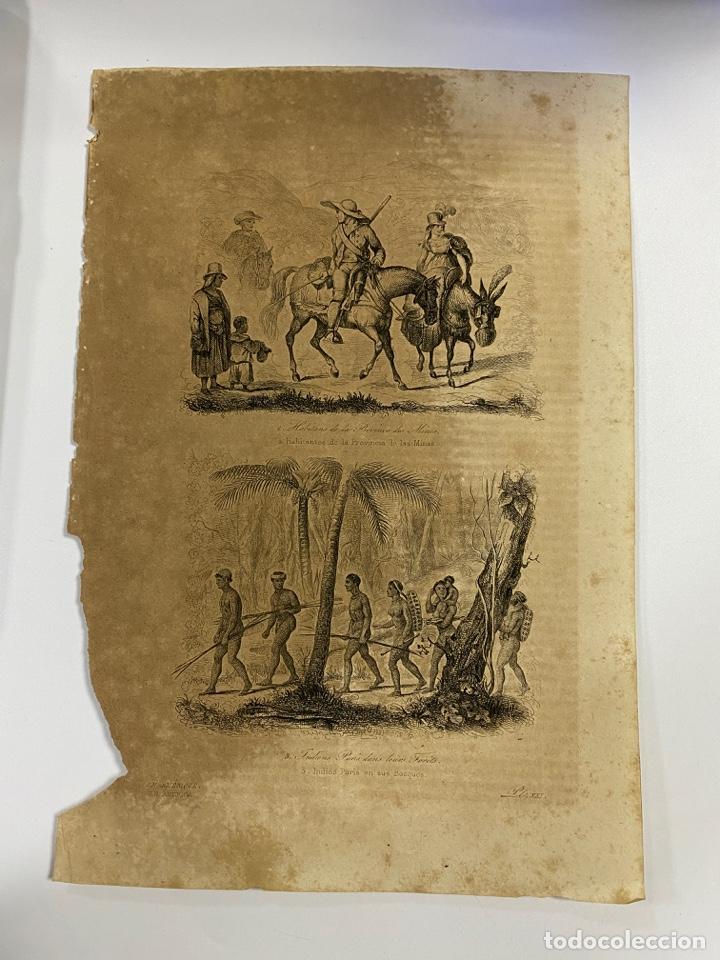 GRABADOS DE HABITANTES DE LA PROVINCIA DE MINAS. E INDIOS PURIS EN SUS BOSQUES. 18,8X27 CM (Arte - Grabados - Antiguos hasta el siglo XVIII)