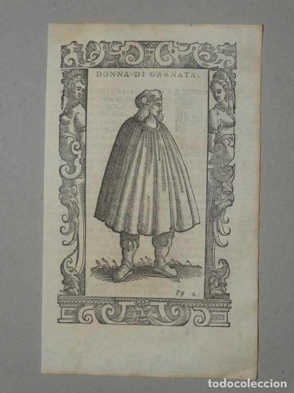 MUJER DE GRANADA (ANDALUCÍA, ESPAÑA), 1590. VECELLIO/KRIEGER/ZENARO (Arte - Grabados - Antiguos hasta el siglo XVIII)