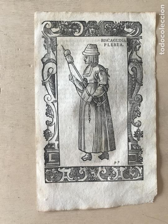 Arte: Xilografía de mujer plebeya de Vizcaya (España), 1590. Vecellio/Krieger/Zenaro - Foto 4 - 261590820