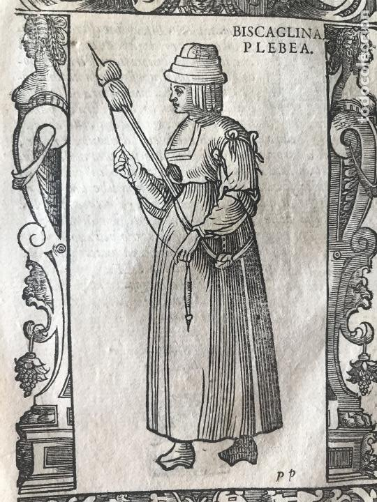 Arte: Xilografía de mujer plebeya de Vizcaya (España), 1590. Vecellio/Krieger/Zenaro - Foto 5 - 261590820