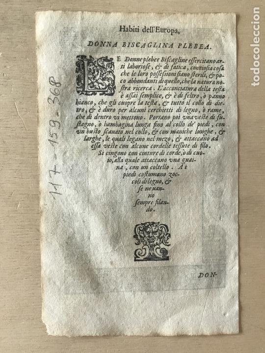 Arte: Xilografía de mujer plebeya de Vizcaya (España), 1590. Vecellio/Krieger/Zenaro - Foto 8 - 261590820