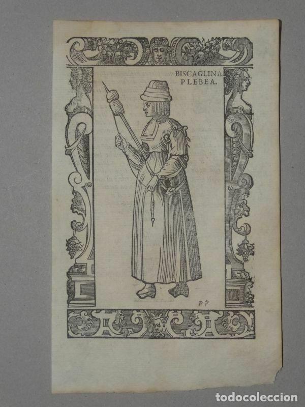 XILOGRAFÍA DE MUJER PLEBEYA DE VIZCAYA (ESPAÑA), 1590. VECELLIO/KRIEGER/ZENARO (Arte - Grabados - Antiguos hasta el siglo XVIII)