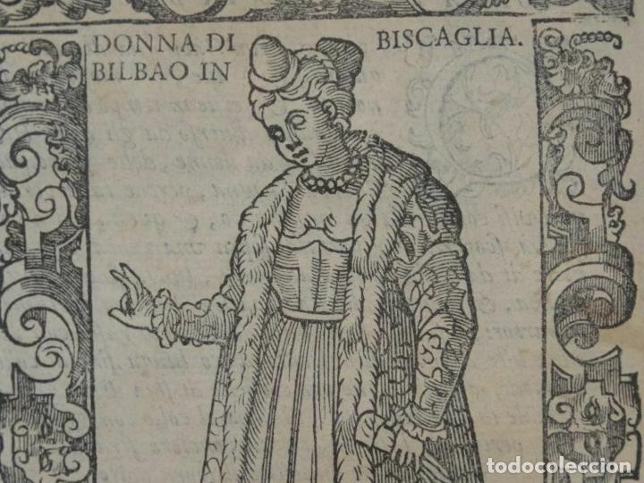 Arte: Xilografía de mujer de Bilbao en Vizcaya (España), 1590. Vecellio/Krieger/Zenaro - Foto 2 - 261597215
