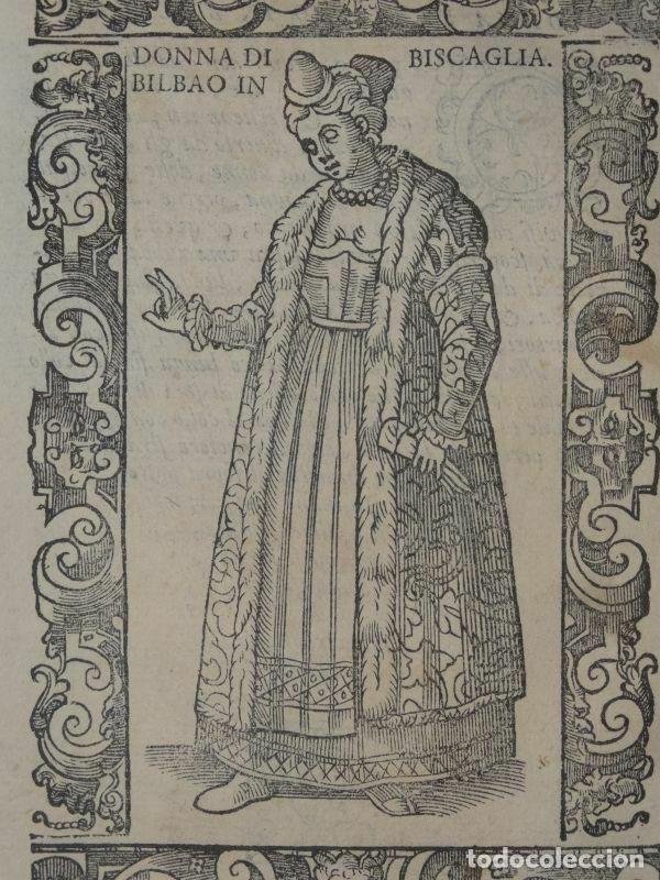 Arte: Xilografía de mujer de Bilbao en Vizcaya (España), 1590. Vecellio/Krieger/Zenaro - Foto 3 - 261597215