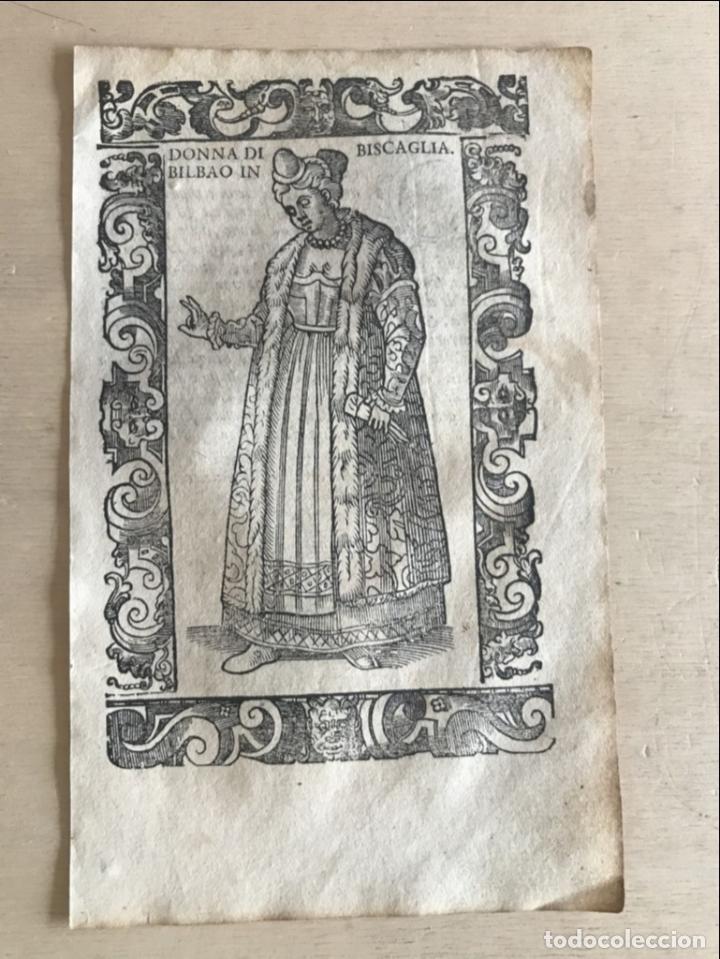 Arte: Xilografía de mujer de Bilbao en Vizcaya (España), 1590. Vecellio/Krieger/Zenaro - Foto 4 - 261597215
