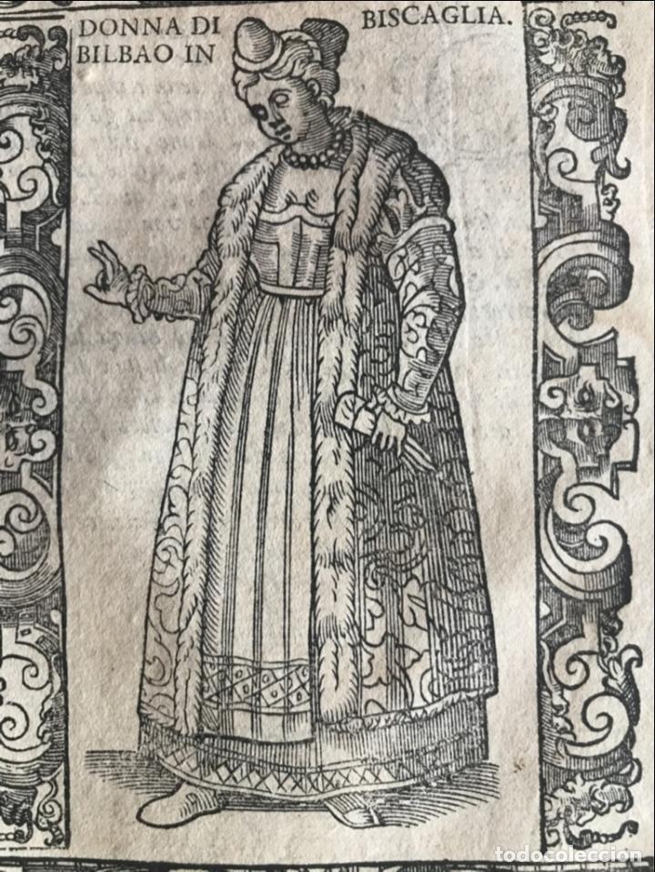 Arte: Xilografía de mujer de Bilbao en Vizcaya (España), 1590. Vecellio/Krieger/Zenaro - Foto 5 - 261597215