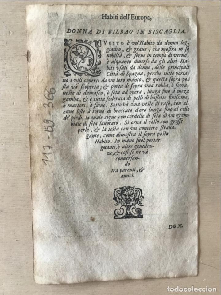 Arte: Xilografía de mujer de Bilbao en Vizcaya (España), 1590. Vecellio/Krieger/Zenaro - Foto 8 - 261597215