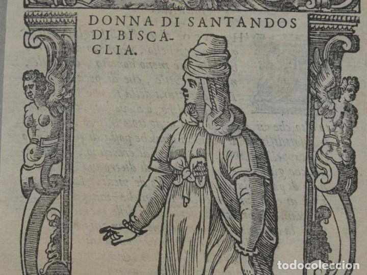 Arte: Xilografía de mujer de Santander ( Cantabria, España), 1590. Vecellio/Krieger/Zenaro - Foto 2 - 261602910