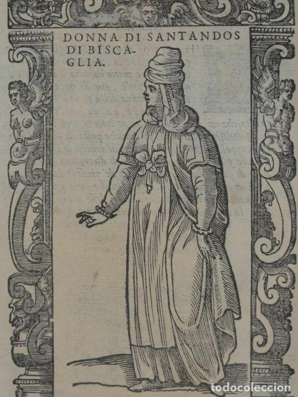 Arte: Xilografía de mujer de Santander ( Cantabria, España), 1590. Vecellio/Krieger/Zenaro - Foto 3 - 261602910