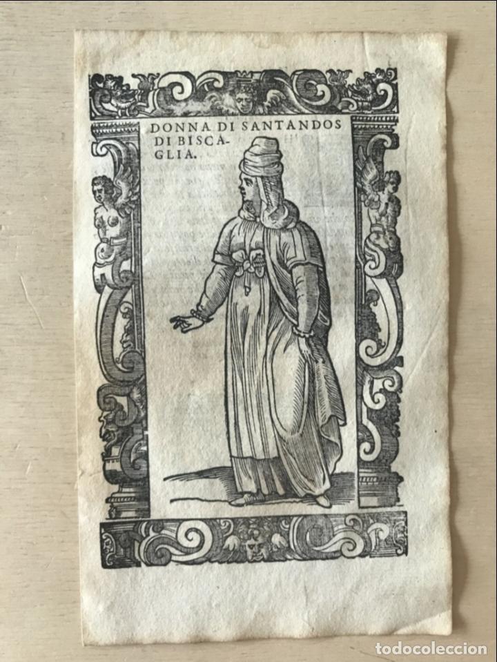 Arte: Xilografía de mujer de Santander ( Cantabria, España), 1590. Vecellio/Krieger/Zenaro - Foto 4 - 261602910