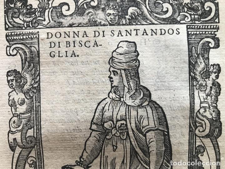 Arte: Xilografía de mujer de Santander ( Cantabria, España), 1590. Vecellio/Krieger/Zenaro - Foto 6 - 261602910