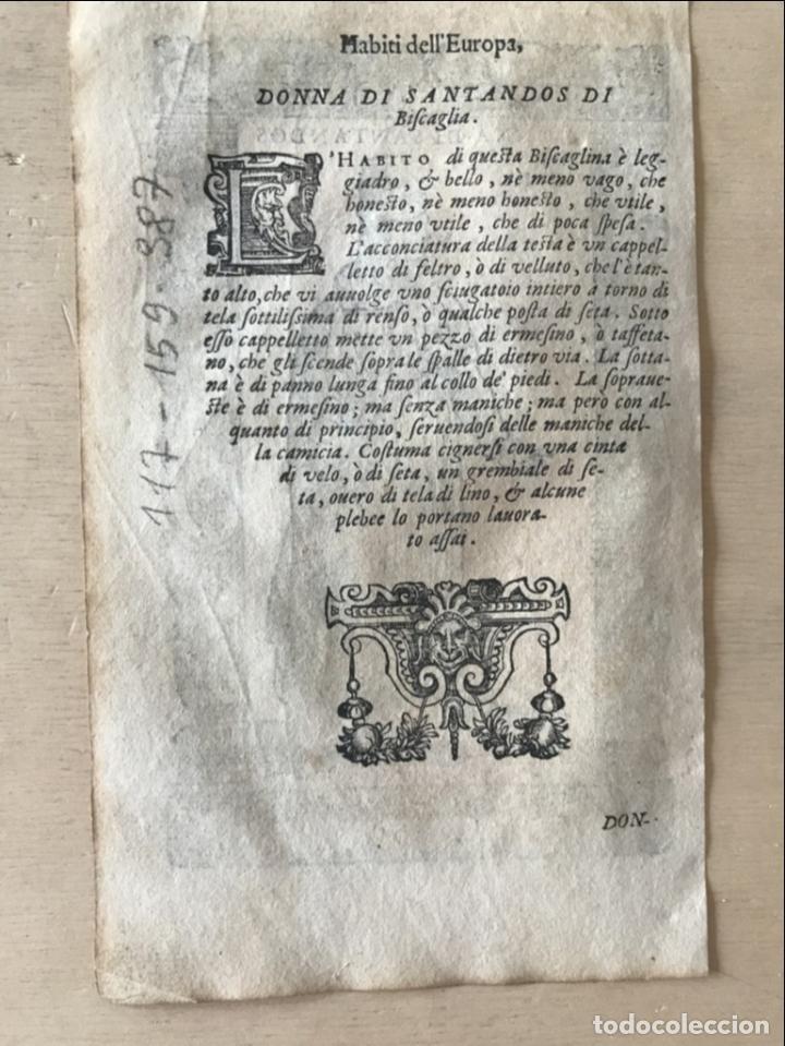 Arte: Xilografía de mujer de Santander ( Cantabria, España), 1590. Vecellio/Krieger/Zenaro - Foto 9 - 261602910