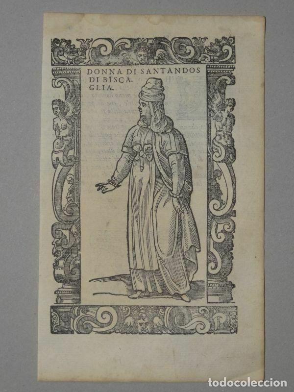 XILOGRAFÍA DE MUJER DE SANTANDER ( CANTABRIA, ESPAÑA), 1590. VECELLIO/KRIEGER/ZENARO (Arte - Grabados - Antiguos hasta el siglo XVIII)