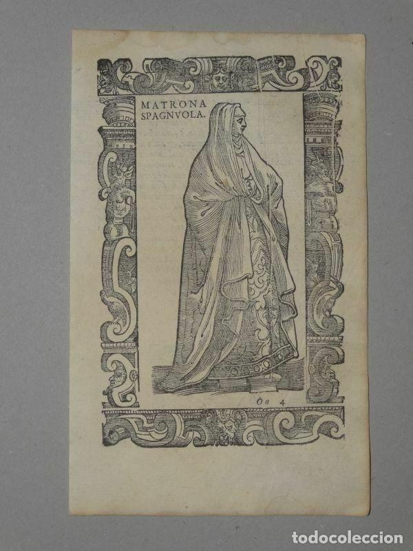 XILOGRAFÍA MATRONA DE ESPAÑA, 1590. VECELLIO/KRIEGER/ZENARO (Arte - Grabados - Antiguos hasta el siglo XVIII)