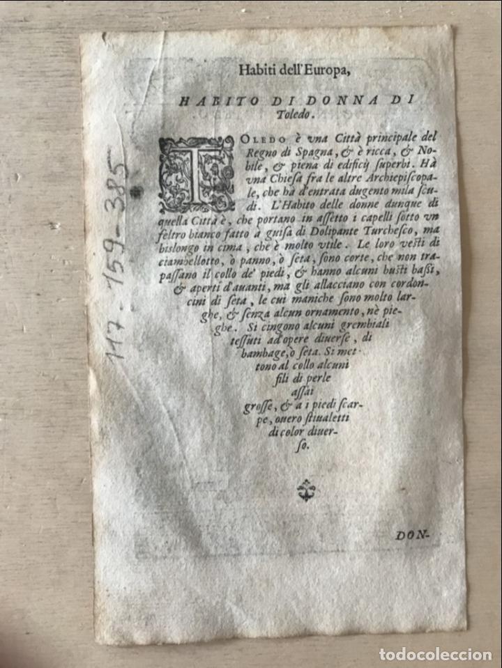 Arte: Xilografía de mujer Toledo (España), 1590. Vecellio/Krieger/Zenaro - Foto 8 - 261613945