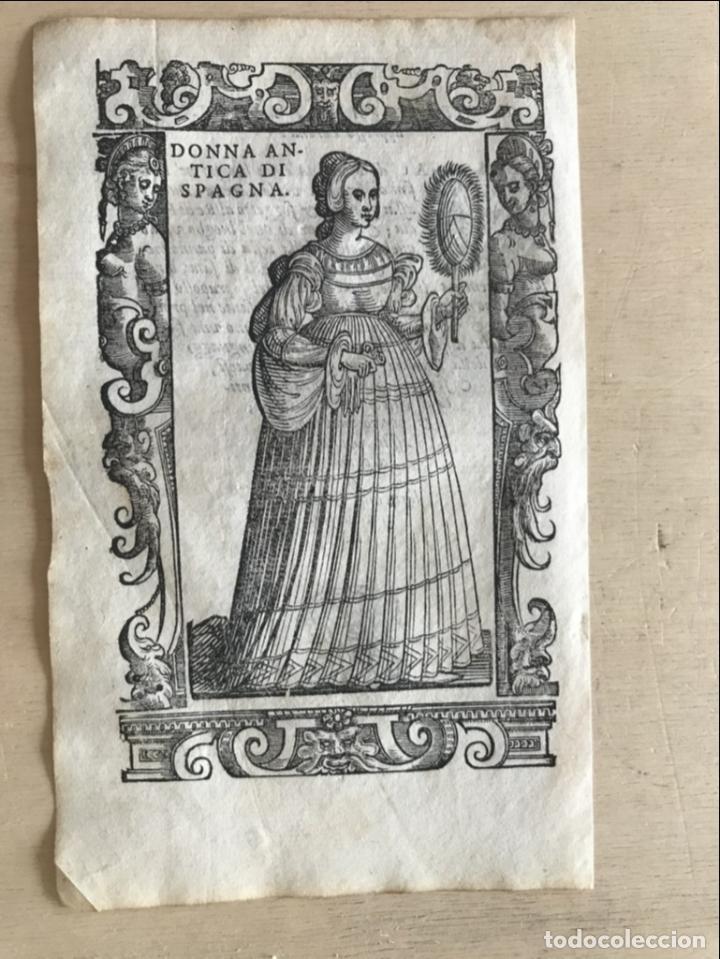 Arte: Xilografía de antigua mujer de España, 1590. Vecellio/Krieger/Zenaro - Foto 4 - 261616975