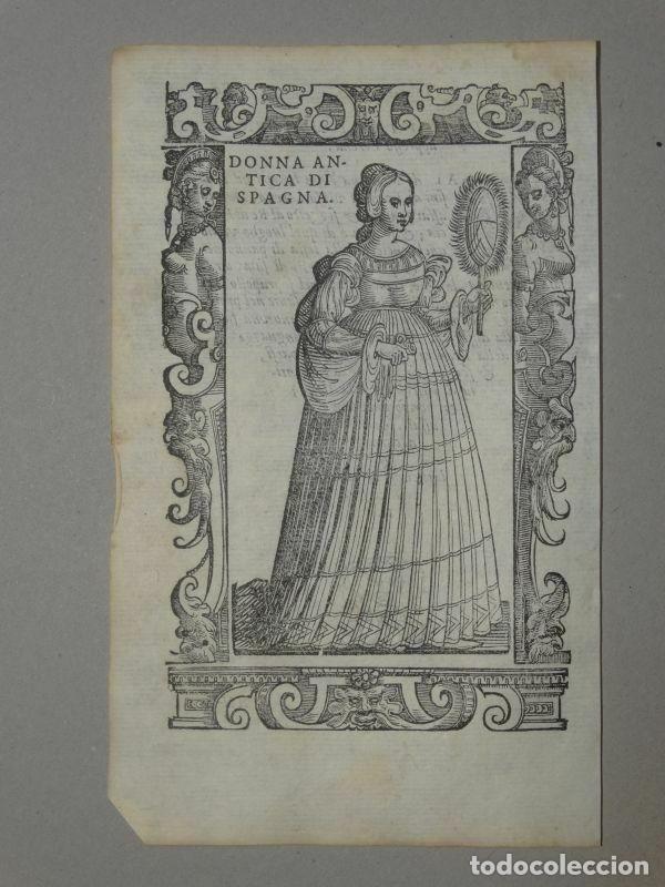 XILOGRAFÍA DE ANTIGUA MUJER DE ESPAÑA, 1590. VECELLIO/KRIEGER/ZENARO (Arte - Grabados - Antiguos hasta el siglo XVIII)