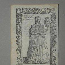Arte: XILOGRAFÍA DE ANTIGUA MUJER DE ESPAÑA, 1590. VECELLIO/KRIEGER/ZENARO. Lote 261616975