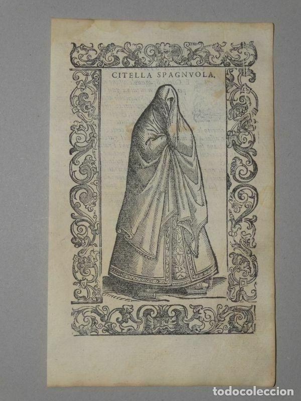 XILOGRAFÍA DE UNA SOLTERA DE ESPAÑA , 1590. VECELLIO/KRIEGER/ZENARO (Arte - Grabados - Antiguos hasta el siglo XVIII)