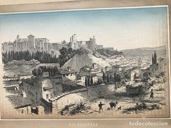 Arte: Vista panorámica de La Alhambra de Granada (España), hacia 1850. J.J. Weber - Foto 3 - 261689805
