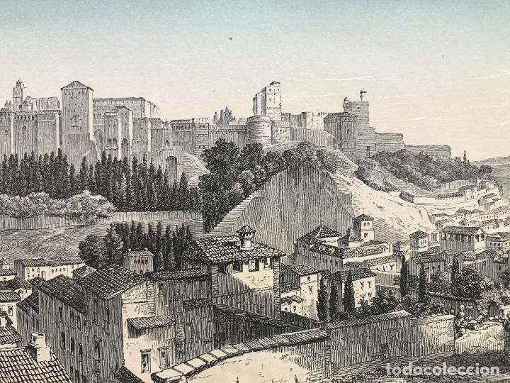 Arte: Vista panorámica de La Alhambra de Granada (España), hacia 1850. J.J. Weber - Foto 4 - 261689805