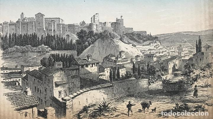 VISTA PANORÁMICA DE LA ALHAMBRA DE GRANADA (ESPAÑA), HACIA 1850. J.J. WEBER (Arte - Grabados - Modernos siglo XIX)