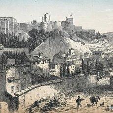 Arte: VISTA PANORÁMICA DE LA ALHAMBRA DE GRANADA (ESPAÑA), HACIA 1850. J.J. WEBER. Lote 261689805