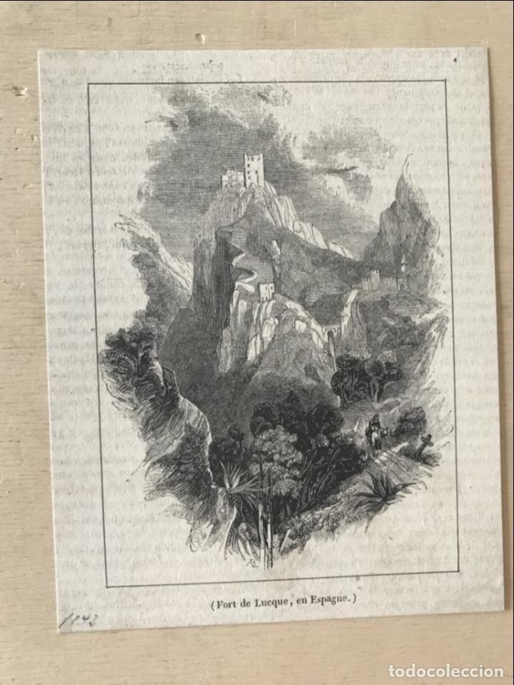 Arte: Vista panorámica del castillo de Luque (Córdoba, España), 1843. Anónimo - Foto 2 - 261697530