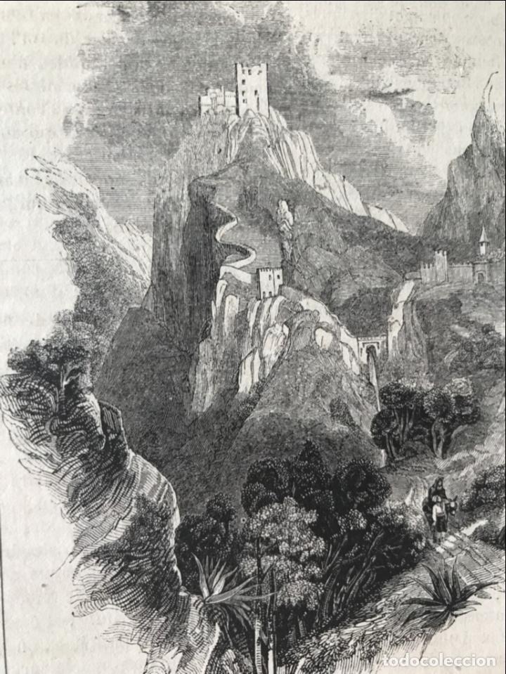 VISTA PANORÁMICA DEL CASTILLO DE LUQUE (CÓRDOBA, ESPAÑA), 1843. ANÓNIMO (Arte - Grabados - Modernos siglo XIX)