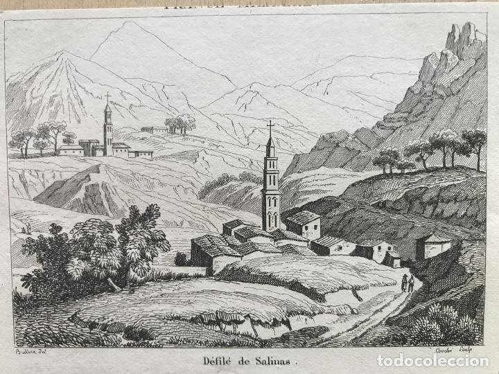 DESFILADERO DE SALINAS EN PAMPLONA (NAVARRA, ESPAÑA), HACIA 1850. BULLUCA/COUCHE (Arte - Grabados - Modernos siglo XIX)