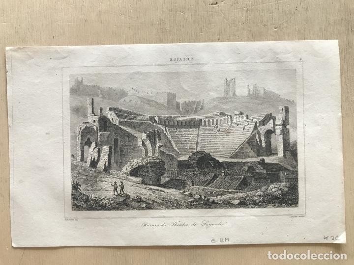 Arte: Vista del teatro romano de Sagunto (Valencia, España) hacia 1850. Guillaumot/Lemaitre - Foto 2 - 261752205