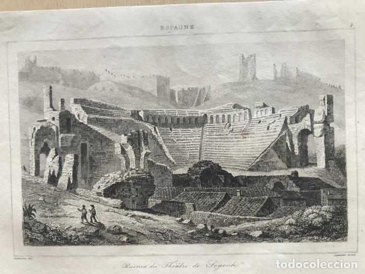 Arte: Vista del teatro romano de Sagunto (Valencia, España) hacia 1850. Guillaumot/Lemaitre - Foto 3 - 261752205