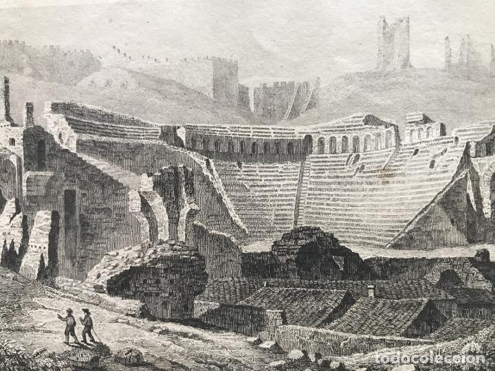 VISTA DEL TEATRO ROMANO DE SAGUNTO (VALENCIA, ESPAÑA) HACIA 1850. GUILLAUMOT/LEMAITRE (Arte - Grabados - Modernos siglo XIX)