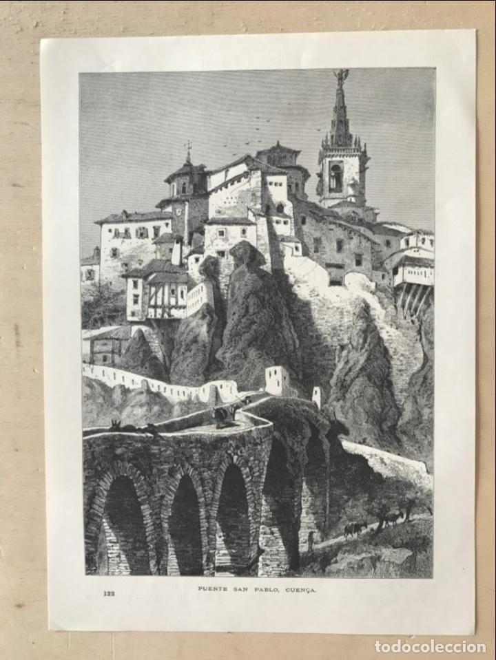 Arte: Vista del puente de San Pablo en Cuenca (Castilla, España), hacia 1850. Anónimo - Foto 2 - 261784990
