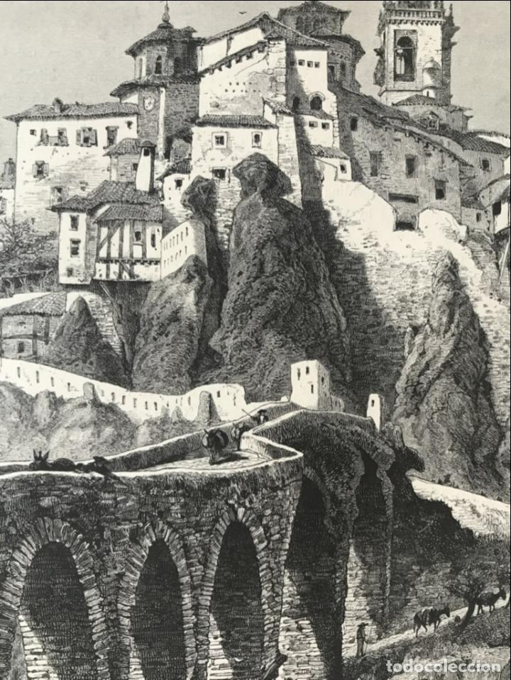 Arte: Vista del puente de San Pablo en Cuenca (Castilla, España), hacia 1850. Anónimo - Foto 3 - 261784990
