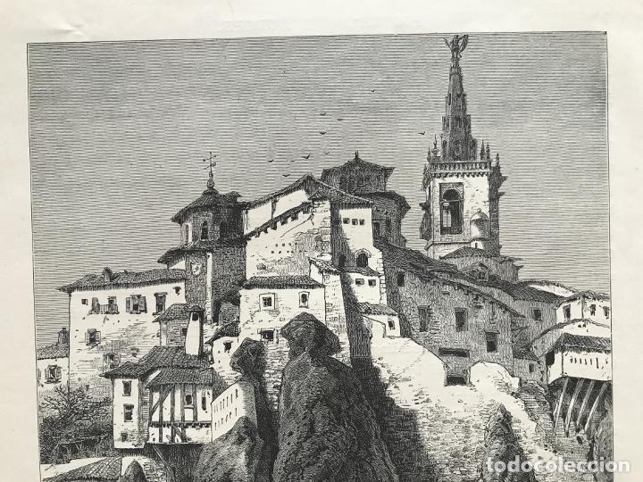 Arte: Vista del puente de San Pablo en Cuenca (Castilla, España), hacia 1850. Anónimo - Foto 4 - 261784990
