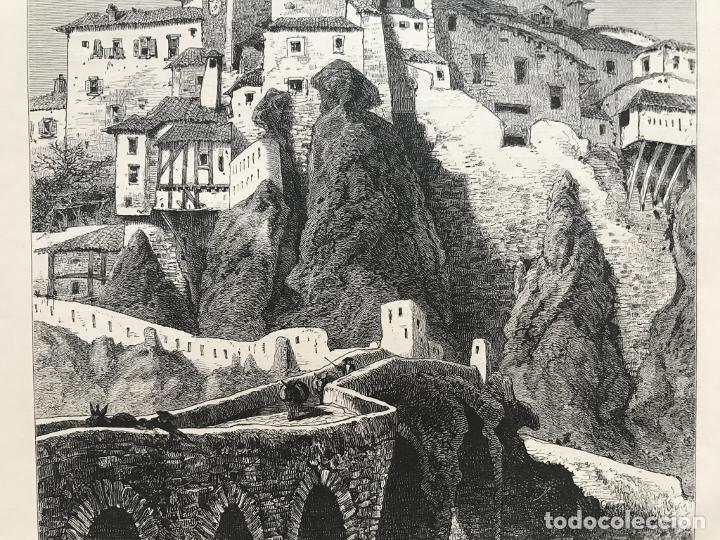 Arte: Vista del puente de San Pablo en Cuenca (Castilla, España), hacia 1850. Anónimo - Foto 5 - 261784990