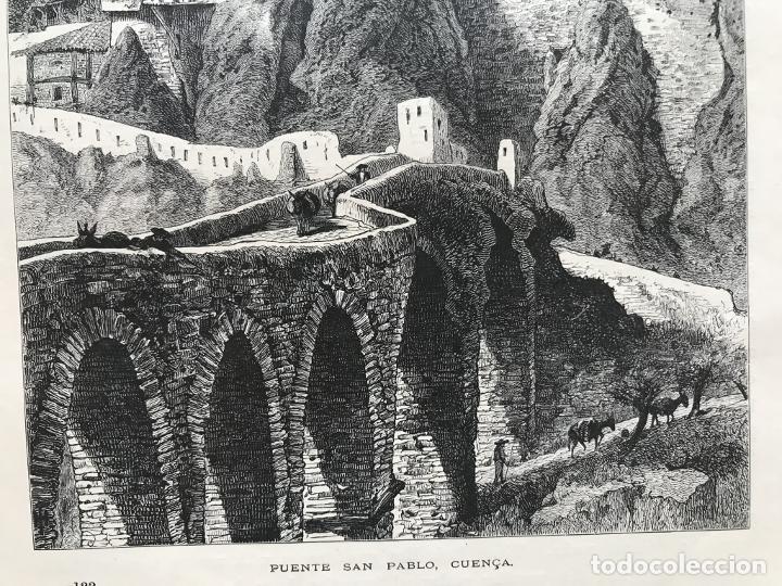 Arte: Vista del puente de San Pablo en Cuenca (Castilla, España), hacia 1850. Anónimo - Foto 6 - 261784990