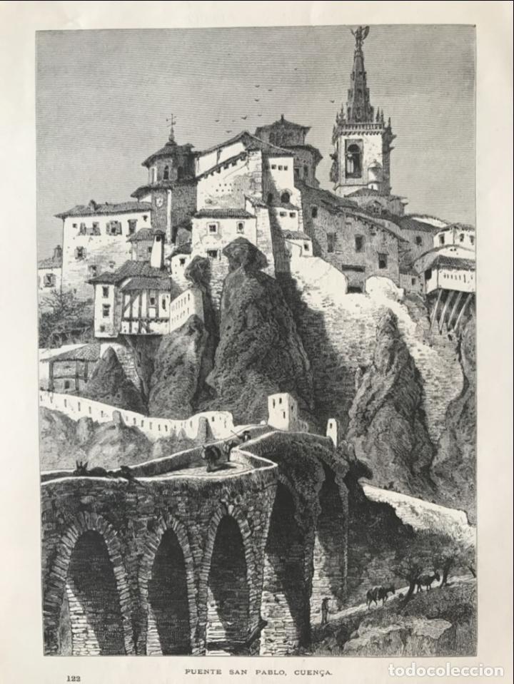 VISTA DEL PUENTE DE SAN PABLO EN CUENCA (CASTILLA, ESPAÑA), HACIA 1850. ANÓNIMO (Arte - Grabados - Modernos siglo XIX)