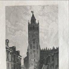 Arte: VISTA DE LA TORRE DE LA GIRALDA DE SEVILLA (ESPAÑA), HACIA 1830. ROSÉE/CREUXBANER. Lote 261788190