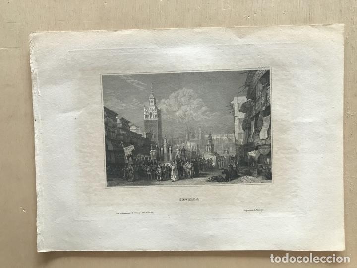 Arte: Vista de La Giralda y procesión religiosa (Sevilla, España), hacia 1850. Ins. Hild. - Foto 2 - 261789140