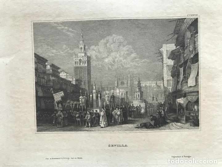 Arte: Vista de La Giralda y procesión religiosa (Sevilla, España), hacia 1850. Ins. Hild. - Foto 3 - 261789140